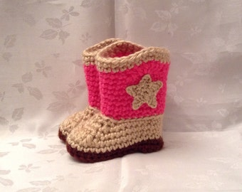 Crochet Baby Cowboy Booties Pink and Tan boots Made to Order Baby Cowgirl Boots Baby Girl Booties Infant Booties
