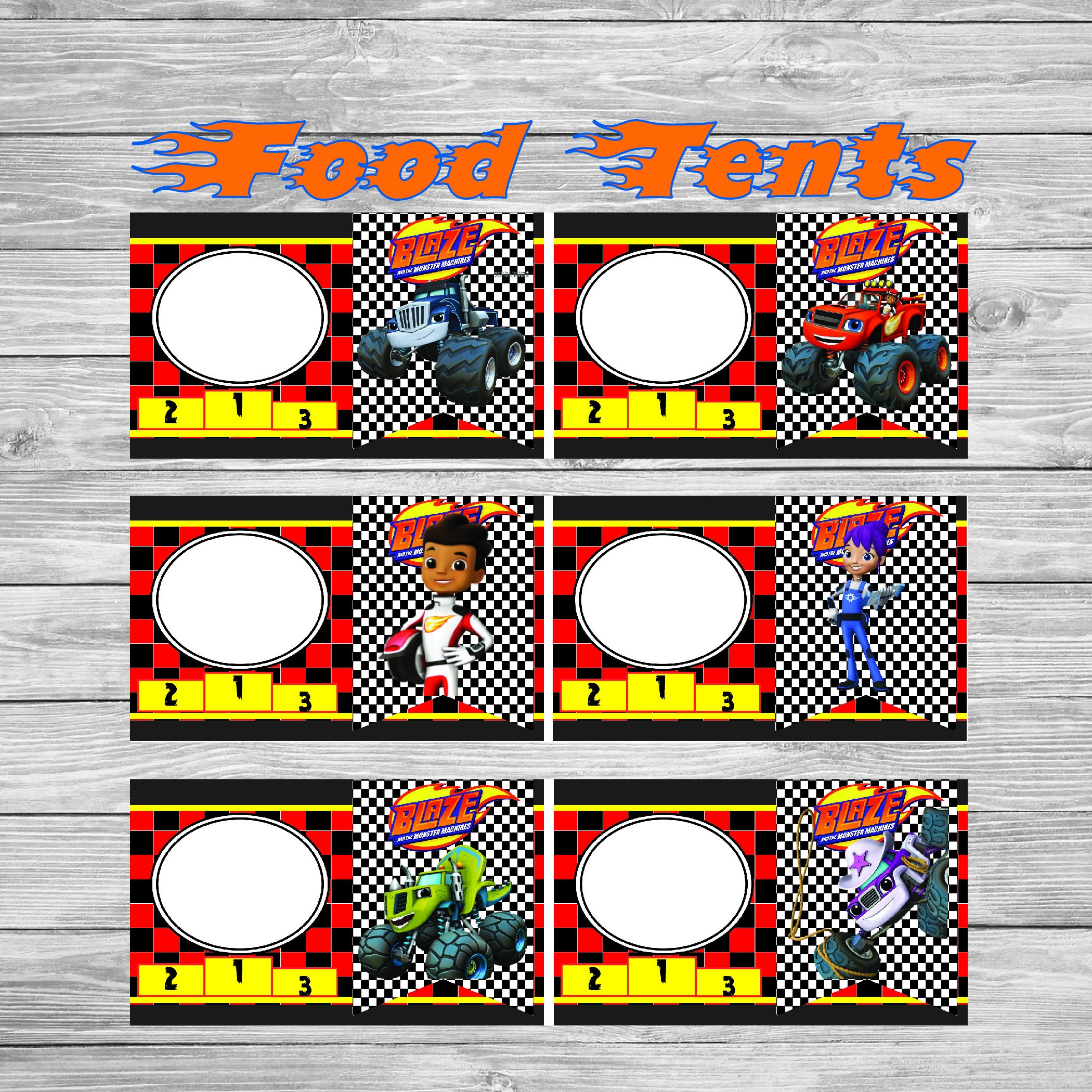 Blaze and the monster machines food tent cards instant for Design your own food truck online