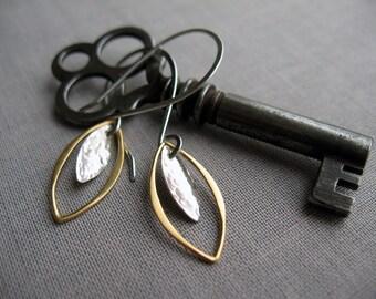 Mixed Metal Earrings, Gold and Silver, Petal Earrings, Dangle Earrings, Everyday Earrings, Gift for Women, Lightweight, Minimalist, Metal