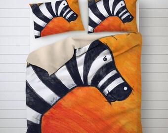 Kids Bedding, Zebra Illustration, Animal Duvet Cover, Orange Decoration, Animal Lover Gift, Twin Duvet Cover, Kids Bedroom, Polyester Fabric