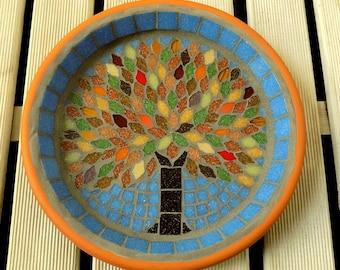 Autumn Jewel Tree Mosaic Garden Yard Bird Bath Ornament Decoration