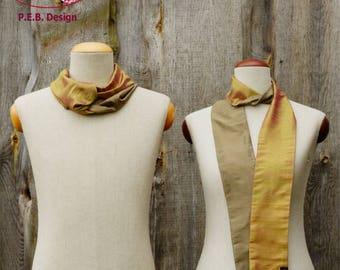 Silk scarf or silk-loop, scarf, tube scarf, loop, silk, silk, raw, champagne-lime, cream-green, two-coloured