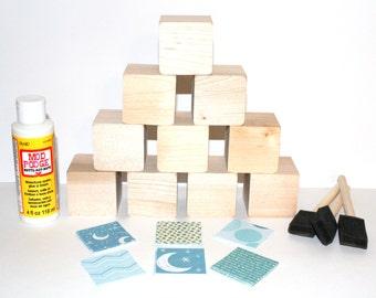 Baby Shower Activity - DIY Baby Blocks - Children's Wooden Blocks - Baby Girl - Pink and Purple - 2 Inch Wooden Blocks