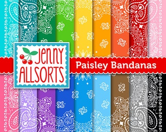 Paisley Bandana Digital Design Papers on Bright Rainbow Colors for Invites, card making, digital scrapbooking