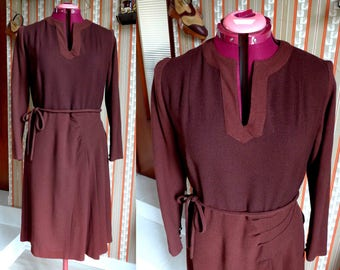 Amazing French Vintage 1940's Two Tones Brown Wool Dress, Perfect Condition - Size M-L