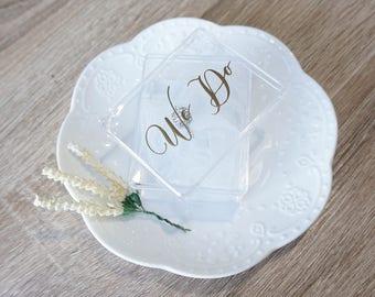 Wedding Ring Box, Ring Bearer Box, Wedding Ring Holder, Plastic Box, Gold Wedding ring box, Engagement Ring Box, Plastic ring box