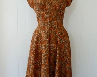 50's Volcano Novelty Print Dress New Look Fit and Flare Full Skirt Red Orange Cocoa Acetate S