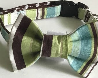 Brown, Green & Blue Striped Collar and Bow Tie for Male Dogs and Cats