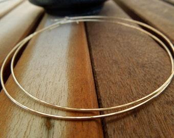 Gold Hoops-Thin X-Large 14 Karat Gold Filled Earrings-Bohemian Ease