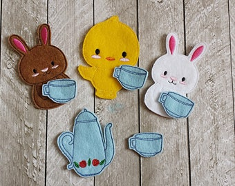 Tea Time Chick, Bunny Set - Finger Puppet - Puppets - Imagination Play - Pretend - Felt - Waldorf
