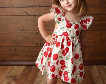 Girls spring dress, baby spring dress, toddler summer dress,red cherry dress, pink floral dress, flower girl dress, boutique dress, vintage