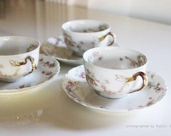 Antique Haviland & Co. Limoges France Teacups set of 3