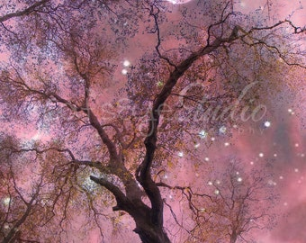 RASPBERRY ENCHANTED FOREST at Twlight Fantasy Photo Art Print Surreal Oak Tree Forest Stars Full Moon Choose your size