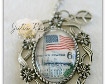 Vintage USA 6c stamp Pendant Necklace with peace charm