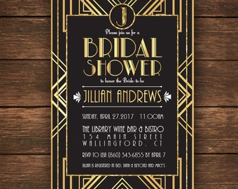 Great Gatsby Bridal Shower Invitation, Bridal Shower Invitation,Great Gatsby Bridal Shower, Gatsby Bridal Shower, Gatsby Invitation