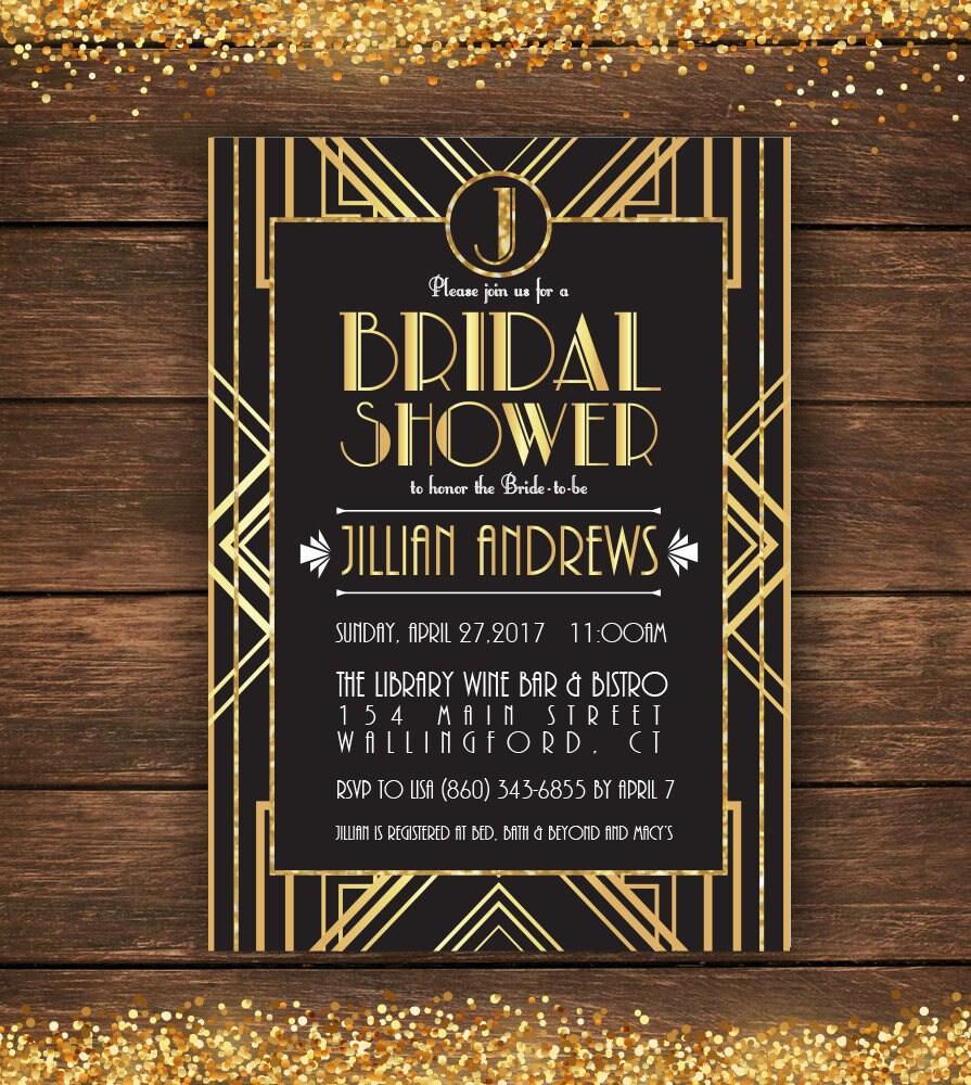 Great gatsby bridal shower invitation bridal shower zoom filmwisefo