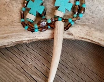 Brown and Turquoise Antler Tip Necklace with Cross Bead Accents