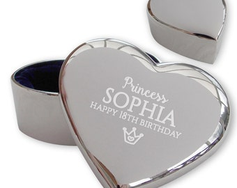Personalised engraved 18TH BIRTHDAY heart shaped trinket box gift idea, princess crown - PR18