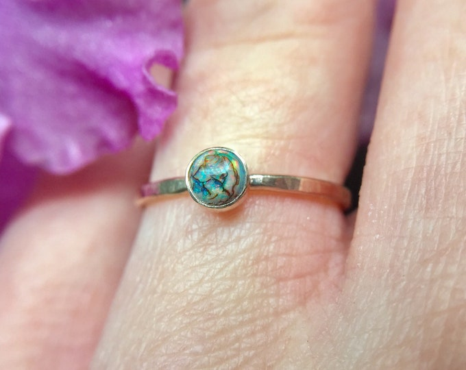 monarch opal ring in 14k yellow gold
