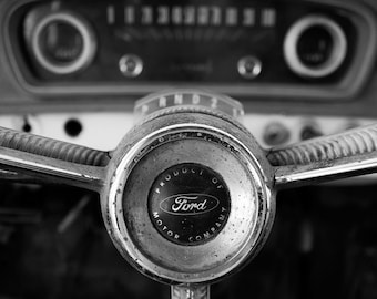 Classic Car Art - B&W Photo Print of Vintage Ford Dash - You Pick The Size