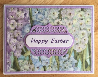 Elegant Handmade Easter Card with Flower Design-Happy Mother's Day, Happy Birthday or Thank You Embossed Card with Flowers