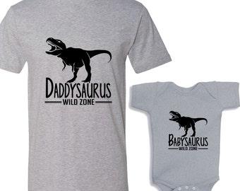 Daddysaurus - Babysaurus Heather Shirts Daddy and Me Shirt Set