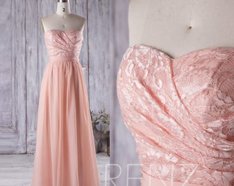 Bright Peach Bridesmaid Dress, Lace Sweetheart Wedding Dress, Strapless Prom Dress, Long Chiffon Prom Dress Floor Length (C005)