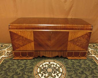 Restored 1940's  Caswell - Runyan Cedar Chest with Waterfall Top