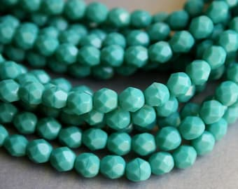 6mm Persian Turquoise Fire Polished Czech Glass Beads - Dark Turquoise Faceted Rounds