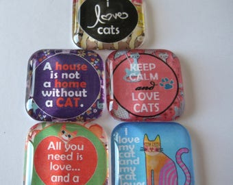 "Cat Saying Square Glass Magnets in 1-3/8"" Size Set of 5"