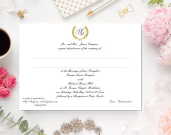 Formal Wedding Invitation, 5 x 7, very formal, elegant featuring laurel monogram in faux gold and formal script writing