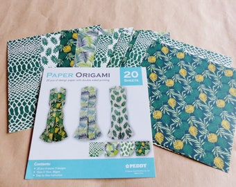 20 sheets of ORIGAMI paper leaf printed jungle tropical on one side and plain on the other 4 different designs 15 x 15 cm 80gsm