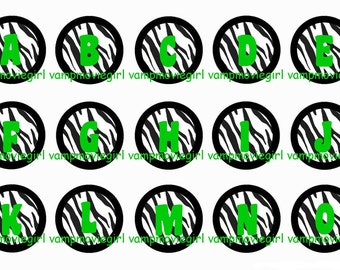 INSTANT DOWNLOAD...Zebra Lime Green Alphabet 1 Inch Circle Image Collage for Bottle Caps...Buy 3 get 1