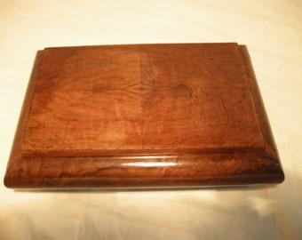Vintage 1950's Handmade Walnut Wooden Jewelry Box