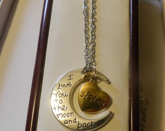 Love you to the moon Sister Crescent Pendant V4555 ready to ship