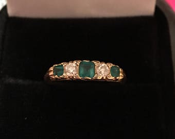 Fantastic Victorian diamond and emerald ring 18k