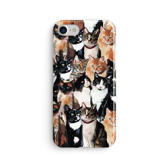 Cat pattern iPhone X case - iPhone 8 case - Samsung Galaxy S8 case - iPhone 7 case - Tough case 1P089