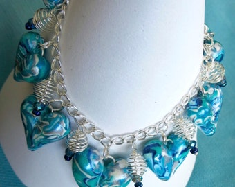 Puffy Heart Charm Bracelet. DARIA. Blue. Turquoise.White. Silver. Adjustable