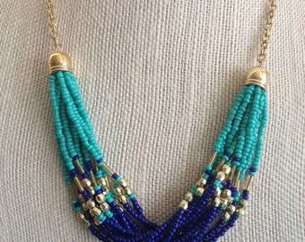 Turquoise Lapis Statement Necklace, Turquoise Necklace, Lapis Blue Necklace, Bead Necklace, Beaded Strands, Gold Beads, Turquoise Beads