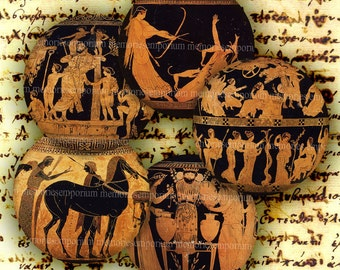 Ancient Greek Pottery Paintings Circles Roman Pocket Compact Mirror Pill Magnet Digital Collage Sheet Download 197