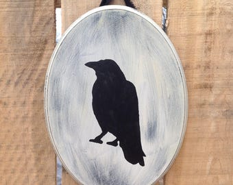 Crow Door Hanger | Primitive Crow Decor | Crow Sign | Home Decor