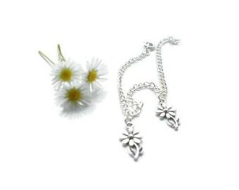 sunflower charm bracelet, flower bracelet, sunflower anklet, flower jewellery, thin chain bracelet, sunflower charm, sunflower wedding