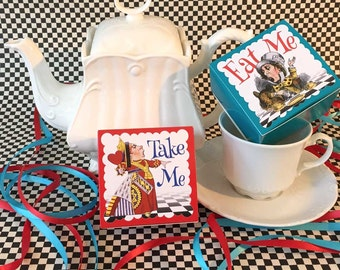 Alice in Wonderland Party Favors Boxes | Eat Me | Take Me | Birthday Wedding Shower | Personalized Custom | Wonderland Table Decor | Set/12