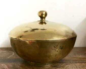 Vintage Brass Lidded Bowl