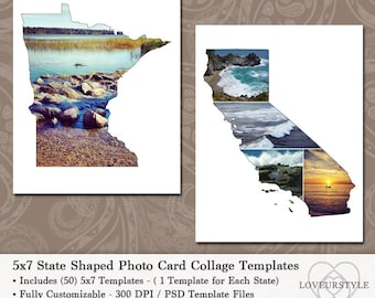 5x7 State Shaped Photo Card Collage Template Pack, Includes All 50 States, Postcard Templates, Greeting Cards, Save-the-Dates, Card Design