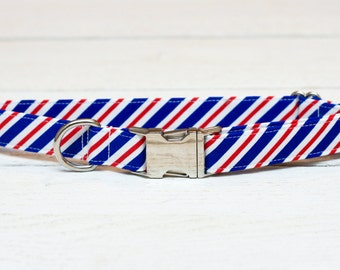 4th of July Dog Collar, Postal Stripes, Red, White and Blue Striped, Patriotic, Fourth of July, Metallic, Pet Collar with Metal Buckle