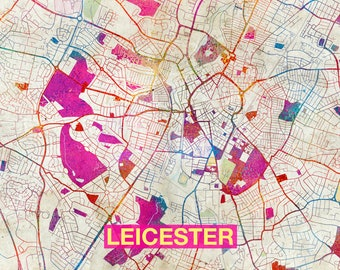 Leicester map print Etsy
