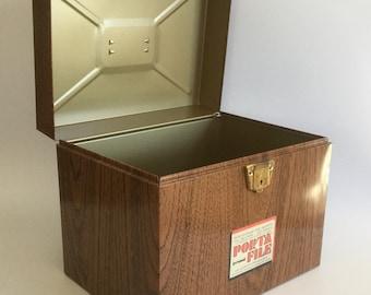 Large Porta File, 1970s, Retro Metal File Box, Ballonoff Porta File, Personal File Box, Faux Wood Metal Box, 1970s Porta File, Vintage Box