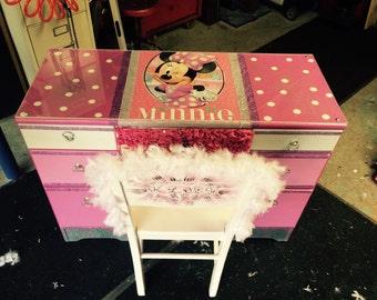 Minnie Mouse furniture  - childrens furniture - kids furniture - minnie mouse room decor -kids desk - kids room decor - childrens desk