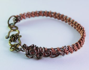 "Wire weaving ""weaves"" copper and bronze Bangle Bracelet"